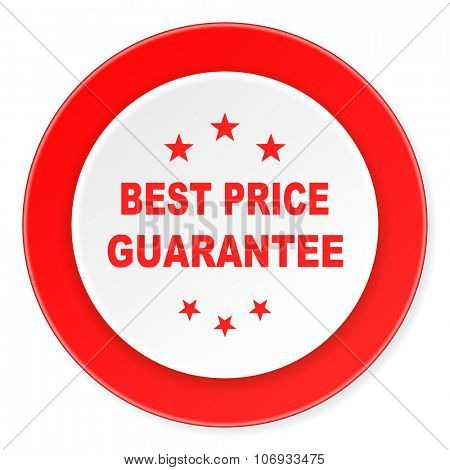 best price guarantee red circle 3d modern design flat icon on white background