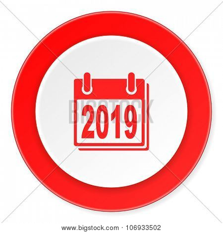 new year 2019 red circle 3d modern design flat icon on white background