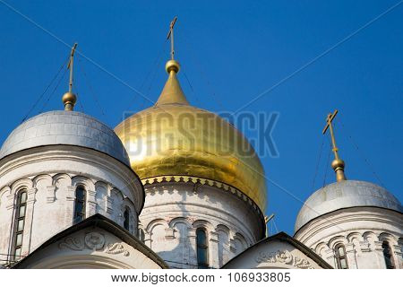 The Dormition Cathedral in Kremlin, Moscow, Russia