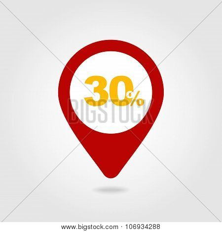 30 Thirty Percent Sale Pin Map Icon. Map Point.