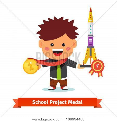 Happy kid taken first prize at school science air