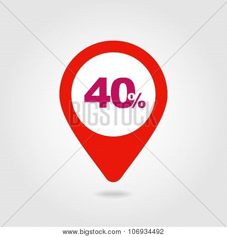 40 Forty Percent Sale Pin Map Icon. Map Point.