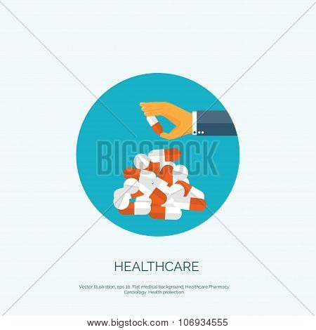 Vector illustration. Flat background with hand and medical pills. Medicine and healthcare.