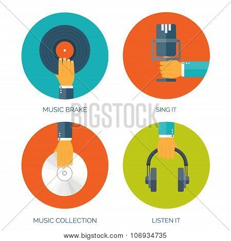 Vector illustration. Flat music background with hand. Voice recording.