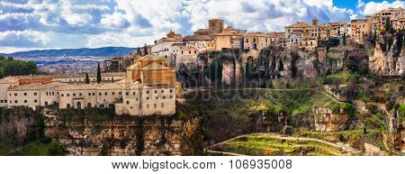 panorama of impressive Cuenca - medieval town on rocks, Spain
