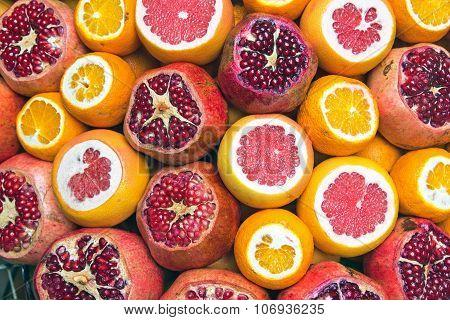 Pomegranate, grapefruit and oranges