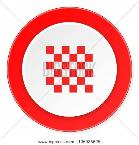 chess red circle 3d modern design flat icon on white background