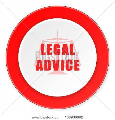 legal advice red circle 3d modern design flat icon on white background