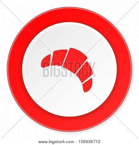 croissant red circle 3d modern design flat icon on white background