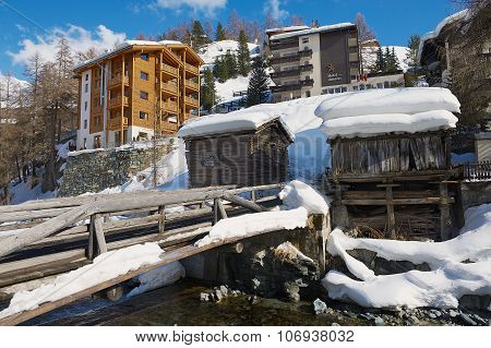 View to the hotels and historical wooden buildings in Zermatt, Switzerland.