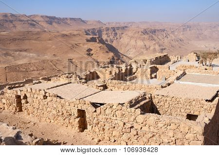Ruins of the ancient Masada fortress in the Negev desert Israel