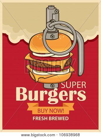 Burger In Military Grenade