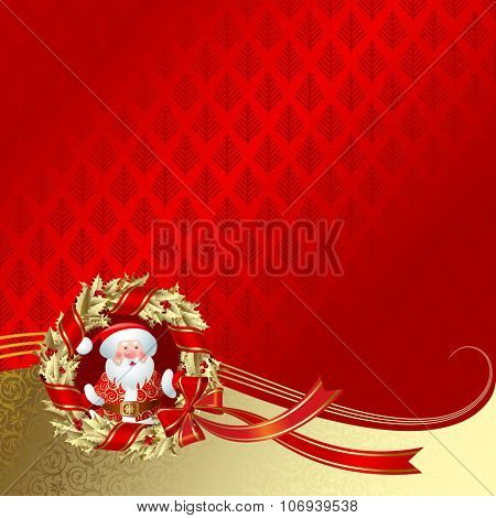 Christmas & New Year's greeting card with a gold holly wreath and Santa Claus on red background.