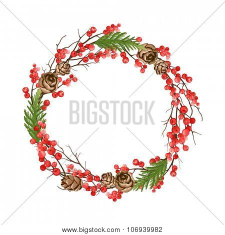 Christmas wreath with dry branches, winter red berries, thuja and pine cones.