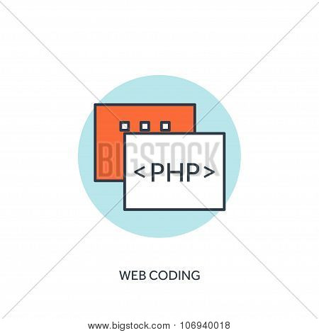 Flat lined document with PHP code. Coding and programming.