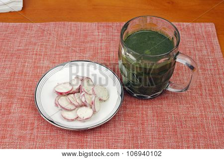 Greens Drink With Creamed Radishes