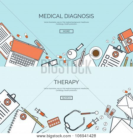 Vector illustration. Flat medical background. First aid and diagnostic. Medical research and therapy