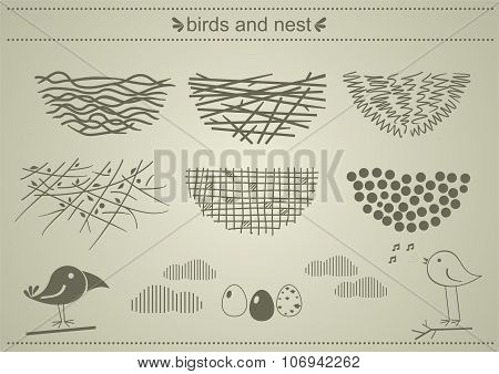 A Set Of Silhouettes Of Birds Nests