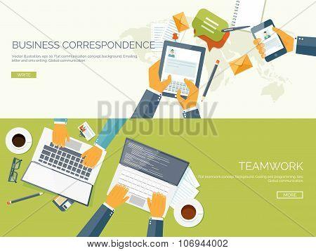 Flat vector illustration backgrounds set. Business correspondence and communication. Teamwork. Smart