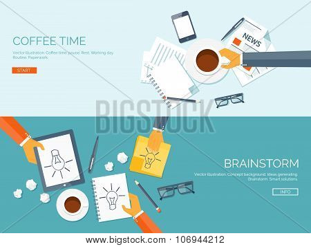 Flat vector illustration backgrounds set. Creativity and generating ideas. Brainstorm and coffee pau