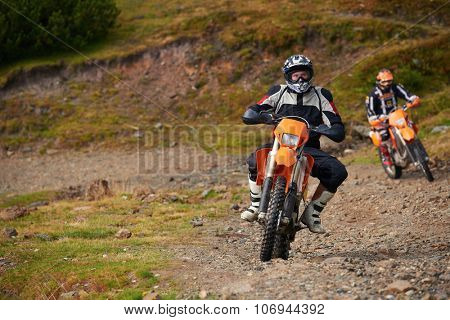 amateur motocross drivers have hobby ride on mountains road