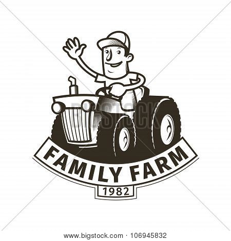 Farm Emblem With A Tractor Driver
