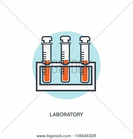 Vector illustration. Pharmacy, vaccine. Flat web internet icon. Flask set.