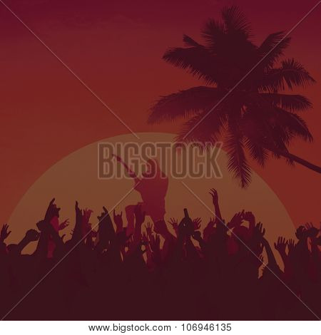 Silhouette of People at a Concert Diversity Fun Concept