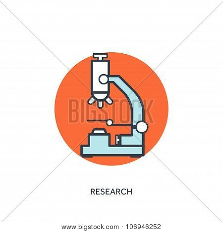 Vector illustration. Microscope. Medical icon. First aid help and diagnosis.Medical research and the