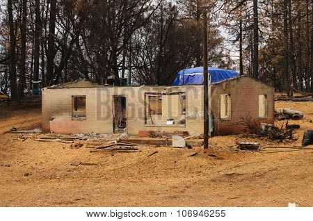 Destruction of the forest and damage to homes caused by the California Butte fire