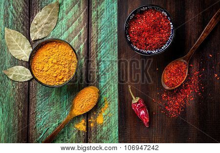 Spices On Wooden Background