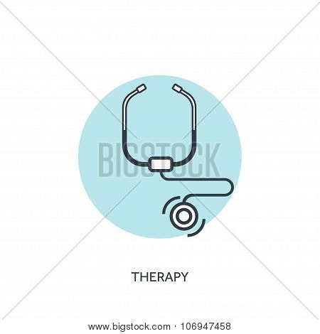 Vector illustration. Stethoscope. Medical icon. First aid help and diagnosis.Medical research and th