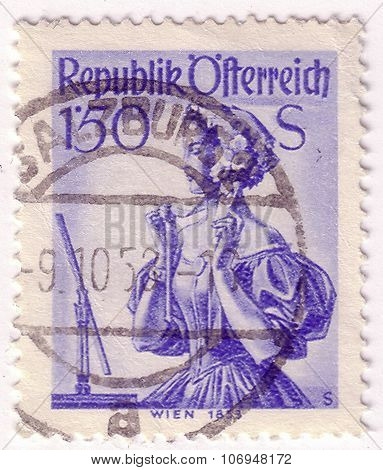Austria - Circa 1951: A Stamp Printed In Austria, Shows A Woman In National Dress, Costume Of Vienna