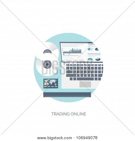 Flat vector illustration. Flat background. Finance and market news. Computer and online trading. Web