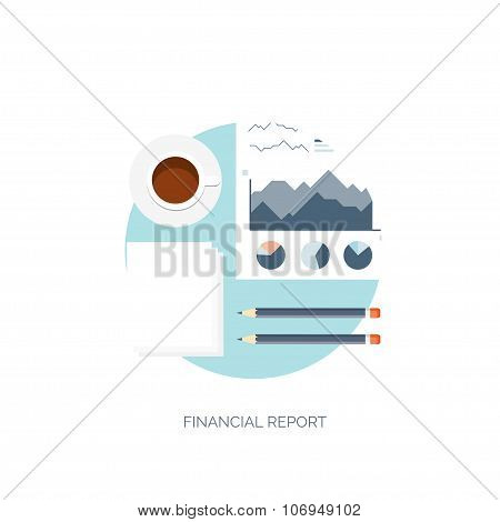 Flat vector illustration. Flat background. Finance and market news. Morning coffee and newspaper.