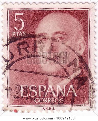 Spain - Circa 1955: A Stamp Printed In Spain Shows Portrait Of General Francisco Franco (1892-1975),