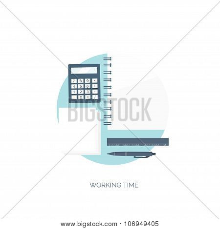 Vector illustration. Flat background. Workplace. Calculator, ruler, pencil and documentation. Financ