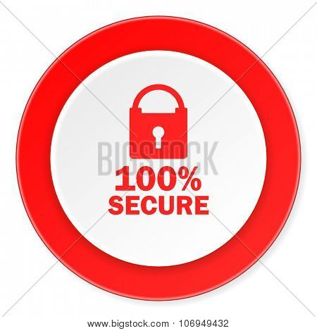 secure red circle 3d modern design flat icon on white background