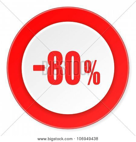 80 percent sale retail red circle 3d modern design flat icon on white background
