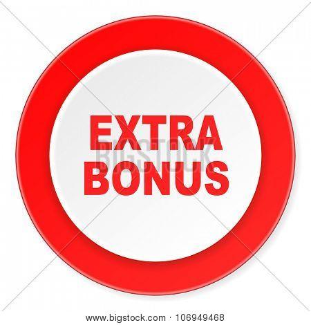 extra bonus red circle 3d modern design flat icon on white background