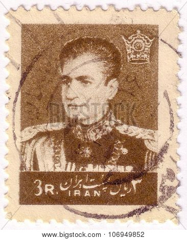 Iran - Circa 1958: A Stamp Printed In Iran Shows Portrait Of Mohammad Reza Shah Pahlavi (1919-1980),