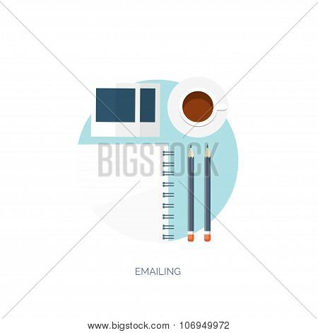 Vector illustration. Flat background. Workplace.  Morning coffee or tea, notepad, photo and pencil.