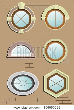 Wooden  Wooden Window In The Wall In Vector Graphics. In The Wall