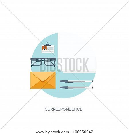 Vector illustration. Flat communication background. Emailing. Social network. Business correspondenc