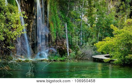 Waterfall and Lake in Plitvice, National Park, beautiful place in Croatia