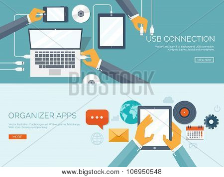 Vector illustration. Usb connection. Computer, tablet, smartphone. Cable. Organizer apps. Business a