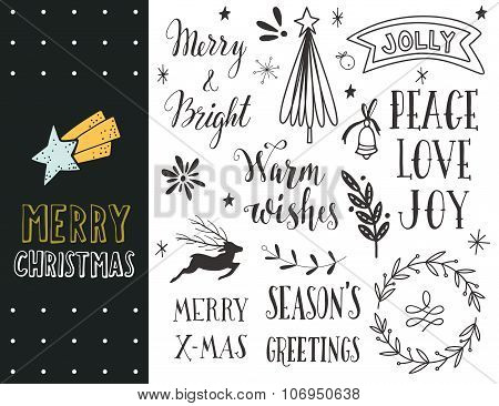 Hand Drawn Christmas Holiday Collection with lettering and winter holiday design elements