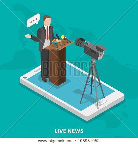 Live news flat isometric vector concept.
