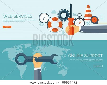 Vector illustration. Flat background. Web service. Mechanical tools. Development and smart solutions