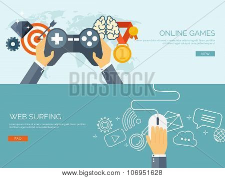 Vector illustration. Online games. Joystick and mouse. Web surfing. Player and gamepad. Entertainmen